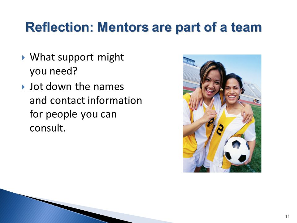 11 What support might you need? Jot down the names and contact information for people you can consult. Reflection: Mentors are part of a team