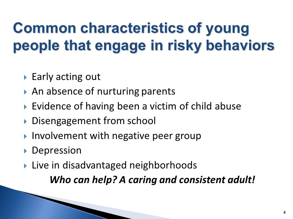44 Early acting out An absence of nurturing parents Evidence of having been a victim of child abuse Disengagement from school Involvement with negative peer group Depression Live in disadvantaged neighborhoods Who can help.