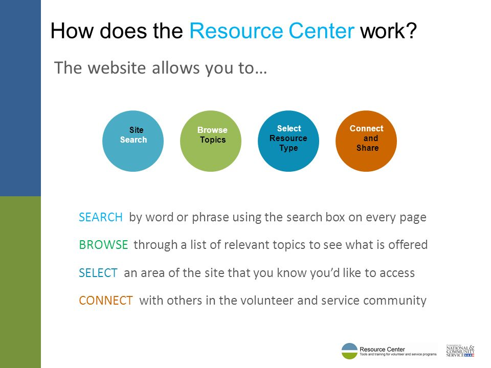 Who uses the Resource Center.