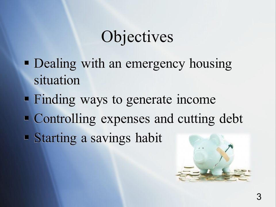 Objectives Dealing with an emergency housing situation Finding ways to generate income Controlling expenses and cutting debt Starting a savings habit Dealing with an emergency housing situation Finding ways to generate income Controlling expenses and cutting debt Starting a savings habit 3