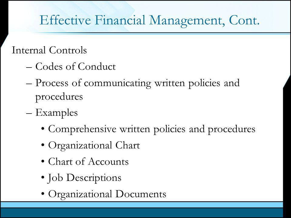 Effective Financial Management, Cont.