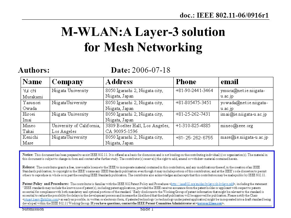 doc.: IEEE 802.11-06/0916r1 SubmissionSlide 1 M-WLAN:A Layer-3 solution for Mesh Networking Notice: This document has been prepared to assist IEEE 802