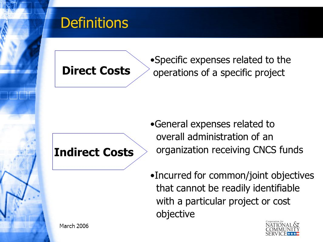 March 2006 Definitions Specific expenses related to the operations of a specific project General expenses related to overall administration of an organization receiving CNCS funds Incurred for common/joint objectives that cannot be readily identifiable with a particular project or cost objective Direct Costs Indirect Costs