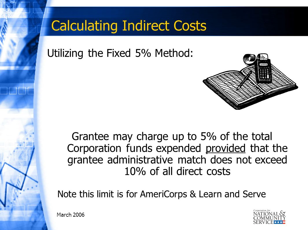 March 2006 Calculating Indirect Costs Utilizing the Fixed 5% Method: Grantee may charge up to 5% of the total Corporation funds expended provided that the grantee administrative match does not exceed 10% of all direct costs Note this limit is for AmeriCorps & Learn and Serve