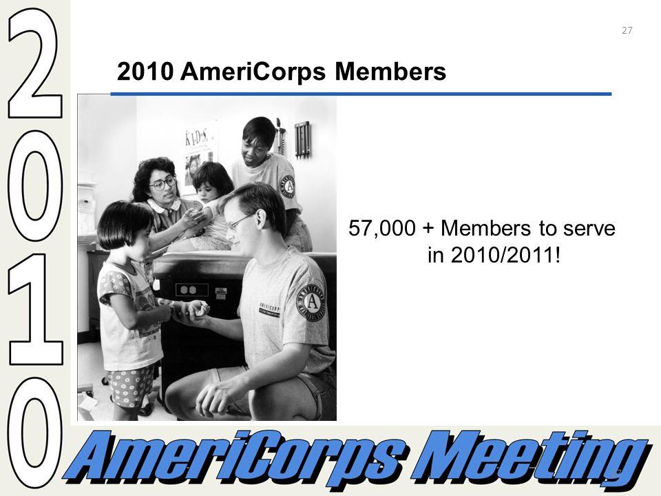 27 2010 AmeriCorps Members 57,000 + Members to serve in 2010/2011! 27