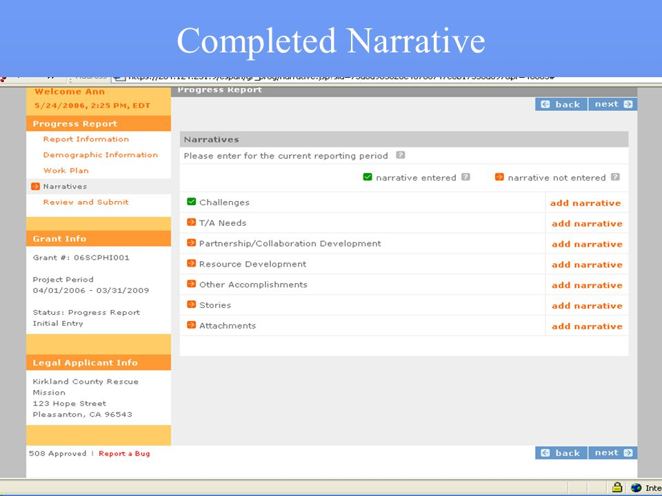 Completed Narrative