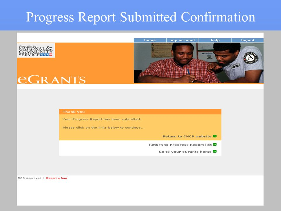 Progress Report Submitted Confirmation