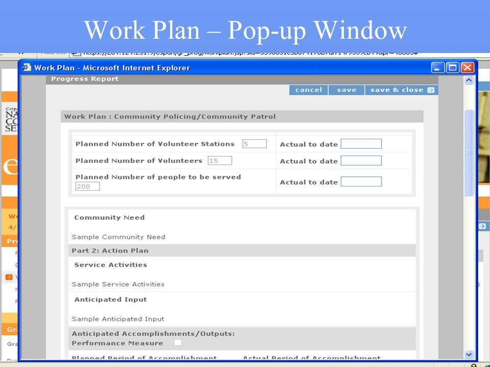 Work Plan – Pop-up Window