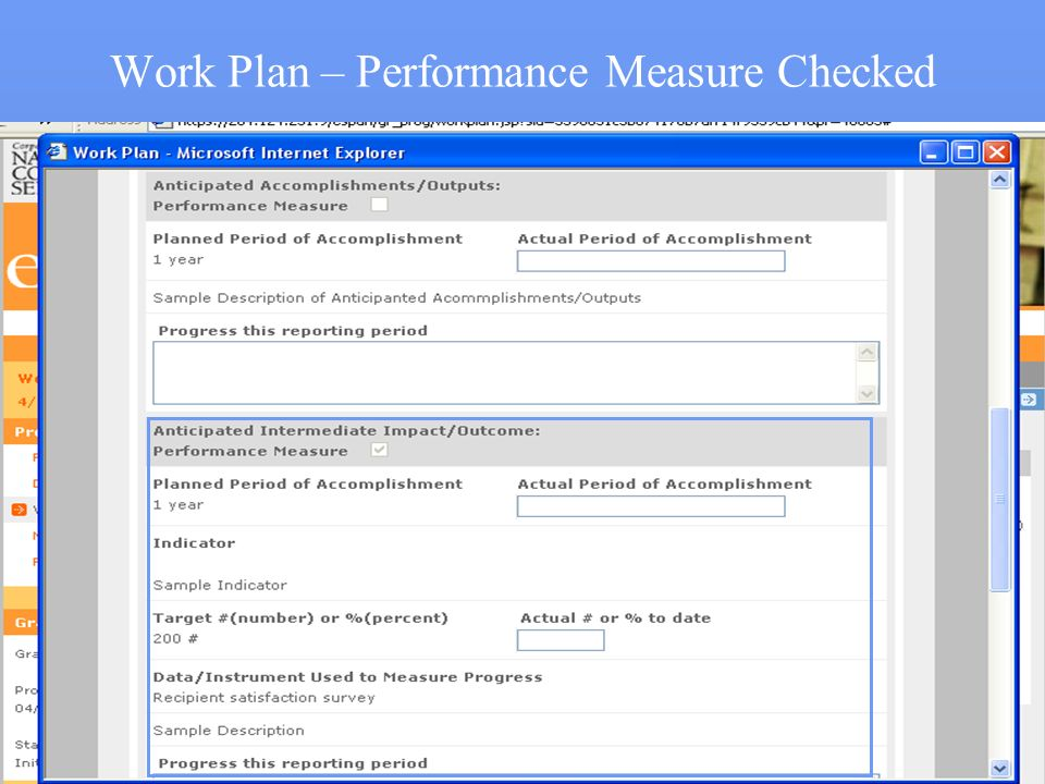 Work Plan – Performance Measure Checked