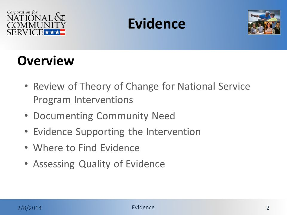 Evidence 2/8/2014 Evidence 2 Overview Review of Theory of Change for National Service Program Interventions Documenting Community Need Evidence Suppor