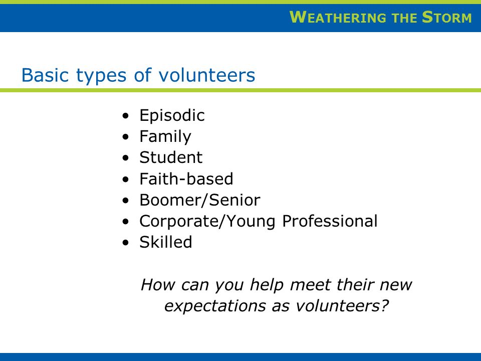 W EATHERING THE S TORM Basic types of volunteers Episodic Family Student Faith-based Boomer/Senior Corporate/Young Professional Skilled How can you help meet their new expectations as volunteers?