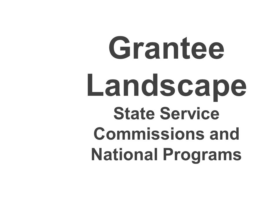 National Programs and Commission Stats Parent Location by State National Programs by Grant Type National Programs by Model Staffing FTEs National Programs by Number of Members Members and MSYs Annual Budgets