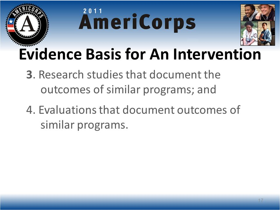Evidence Basis for An Intervention 3.