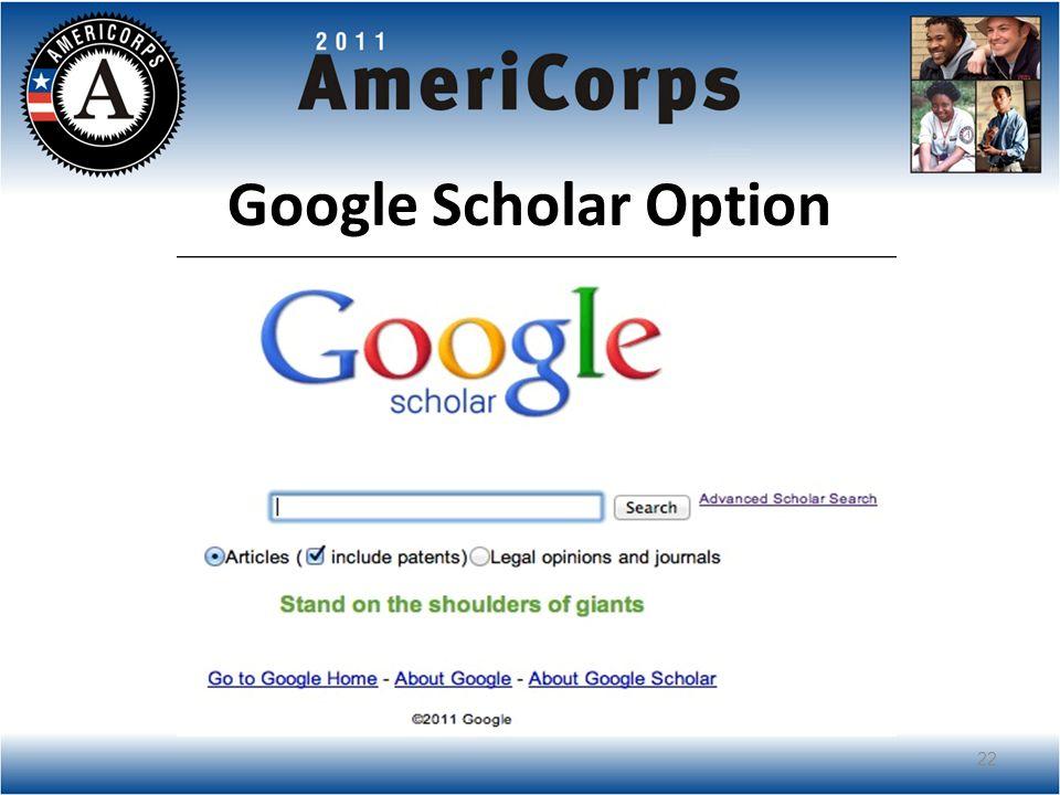 Google Scholar Option 22