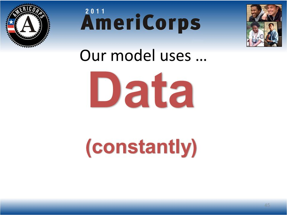Our model uses … Data (constantly) 45