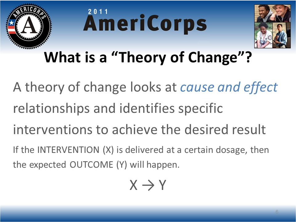 Theory of Change: Components PROBLEM: The identified community need INTERVENTION: The National Service participant (and community volunteer) activities delivered (what is done, with whom, and at what dosage) OUTCOME: The change that happens because of the intervention EVIDENCE: Why you believe a certain set of actions (the intervention) will lead to the intended outcome 7