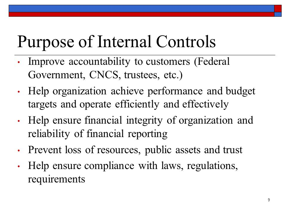 9 Purpose of Internal Controls Improve accountability to customers (Federal Government, CNCS, trustees, etc.) Help organization achieve performance an
