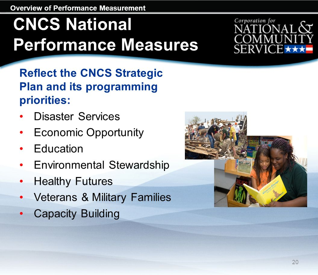 Overview of Performance Measurement CNCS National Performance Measures Reflect the CNCS Strategic Plan and its programming priorities: Disaster Services Economic Opportunity Education Environmental Stewardship Healthy Futures Veterans & Military Families Capacity Building 20