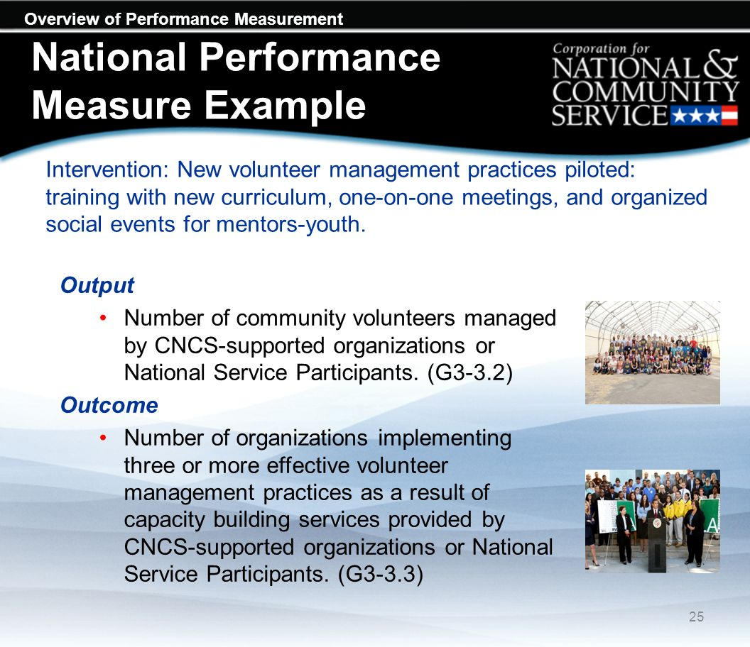 Overview of Performance Measurement National Performance Measure Example Intervention: New volunteer management practices piloted: training with new curriculum, one-on-one meetings, and organized social events for mentors-youth.
