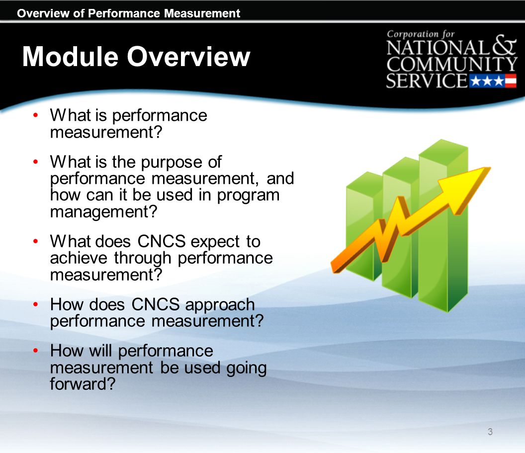 Overview of Performance Measurement Module Overview For information on specific requirements for performance measurement for each CNCS Program, see: Notices of Funds Opportunity/Availability (NOFO/As): www.nationalservice.govwww.nationalservice.gov Resource Center: CNCS Performance Measurement pages: www.nationalservice.gov/resources/npm/home www.nationalservice.gov/resources/npm/home 4