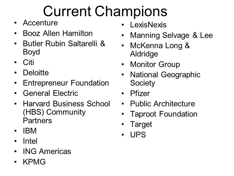 Current Champions Accenture Booz Allen Hamilton Butler Rubin Saltarelli & Boyd Citi Deloitte Entrepreneur Foundation General Electric Harvard Business School (HBS) Community Partners IBM Intel ING Americas KPMG LexisNexis Manning Selvage & Lee McKenna Long & Aldridge Monitor Group National Geographic Society Pfizer Public Architecture Taproot Foundation Target UPS