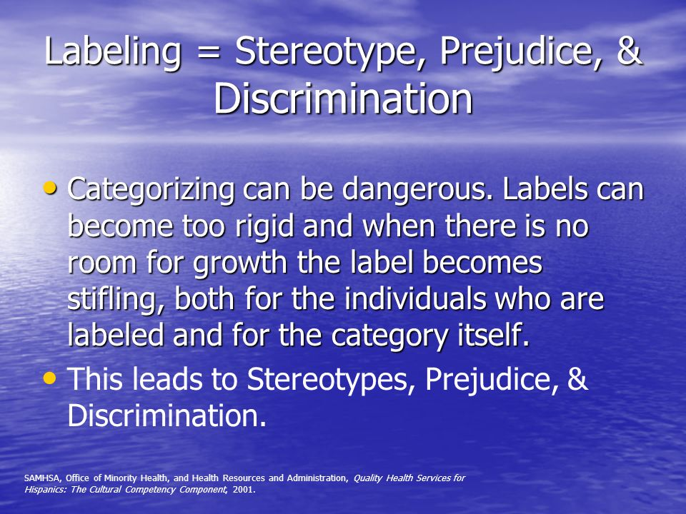 Labeling = Stereotype, Prejudice, & Discrimination Categorizing can be dangerous. Labels can become too rigid and when there is no room for growth the