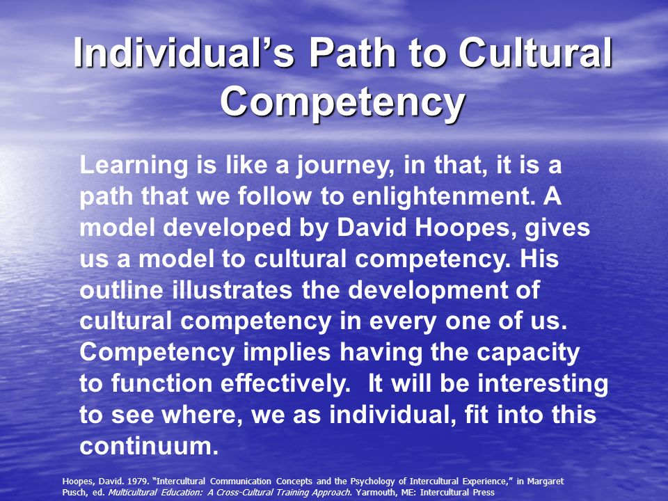 Individuals Path to Cultural Competency Learning is like a journey, in that, it is a path that we follow to enlightenment. A model developed by David