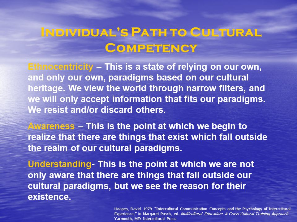 Individuals Path to Cultural Competency Ethnocentricity – This is a state of relying on our own, and only our own, paradigms based on our cultural her
