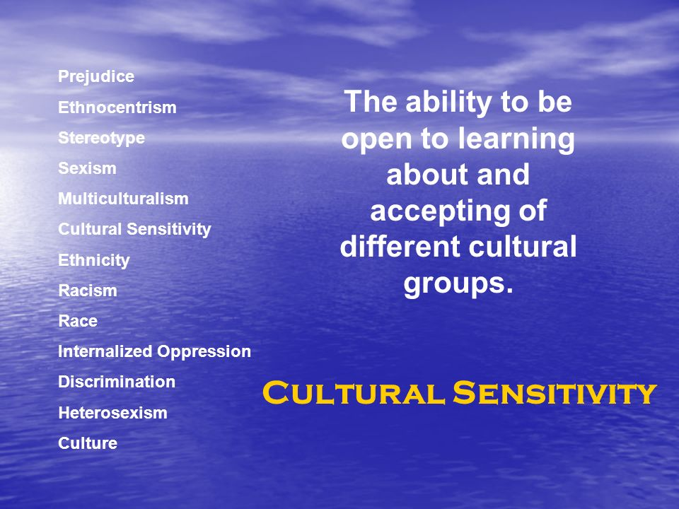 Prejudice Ethnocentrism Stereotype Sexism Multiculturalism Cultural Sensitivity Ethnicity Racism Race Internalized Oppression Discrimination Heterosexism Culture The ability to be open to learning about and accepting of different cultural groups.