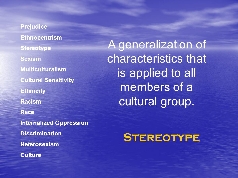 Prejudice Ethnocentrism Stereotype Sexism Multiculturalism Cultural Sensitivity Ethnicity Racism Race Internalized Oppression Discrimination Heterosexism Culture A generalization of characteristics that is applied to all members of a cultural group.