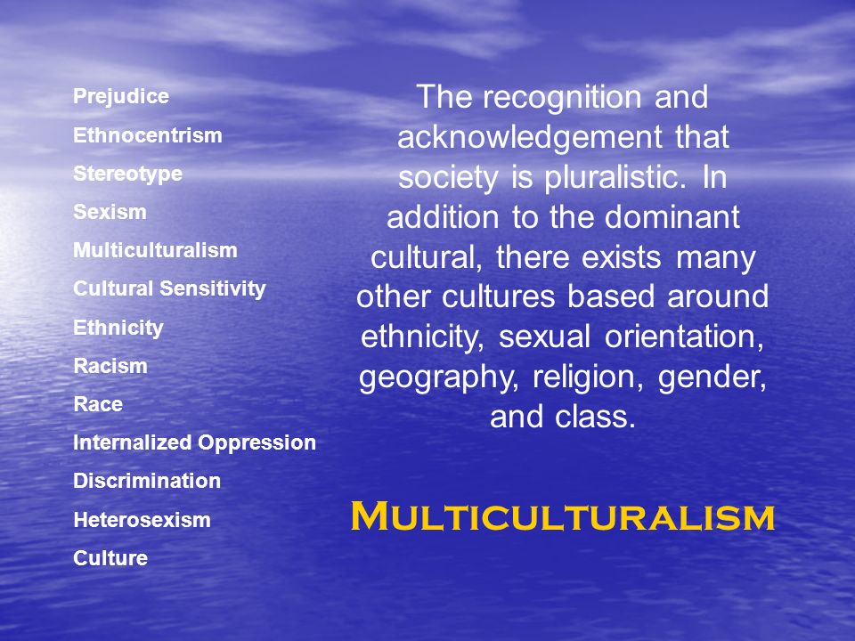 Prejudice Ethnocentrism Stereotype Sexism Multiculturalism Cultural Sensitivity Ethnicity Racism Race Internalized Oppression Discrimination Heterosexism Culture The recognition and acknowledgement that society is pluralistic.