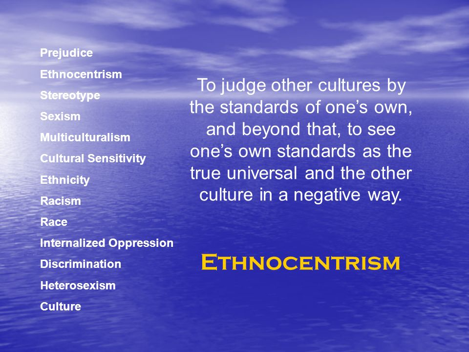 Prejudice Ethnocentrism Stereotype Sexism Multiculturalism Cultural Sensitivity Ethnicity Racism Race Internalized Oppression Discrimination Heterosexism Culture To judge other cultures by the standards of ones own, and beyond that, to see ones own standards as the true universal and the other culture in a negative way.