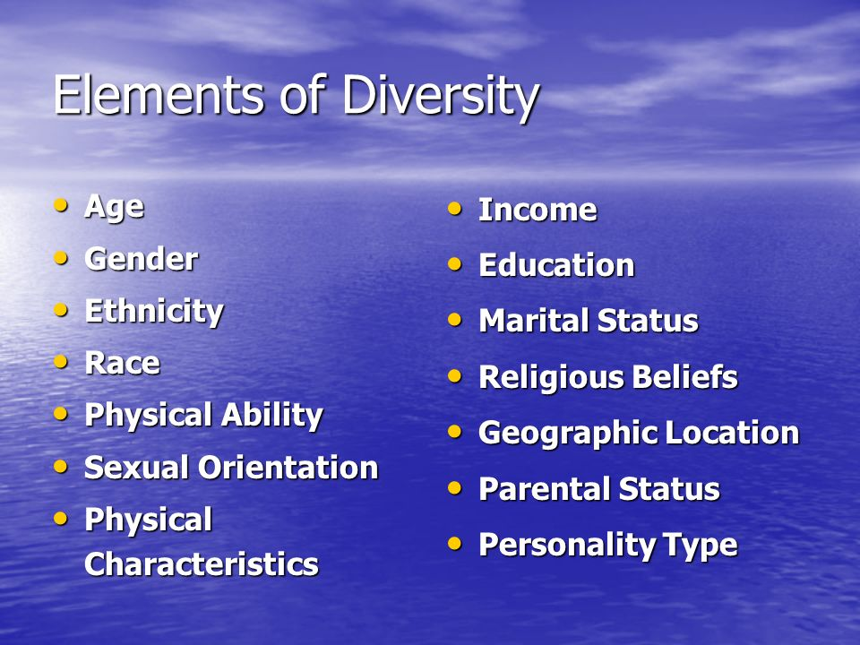 Elements of Diversity Age Age Gender Gender Ethnicity Ethnicity Race Race Physical Ability Physical Ability Sexual Orientation Sexual Orientation Physical Characteristics Physical Characteristics Income Income Education Education Marital Status Marital Status Religious Beliefs Religious Beliefs Geographic Location Geographic Location Parental Status Parental Status Personality Type Personality Type