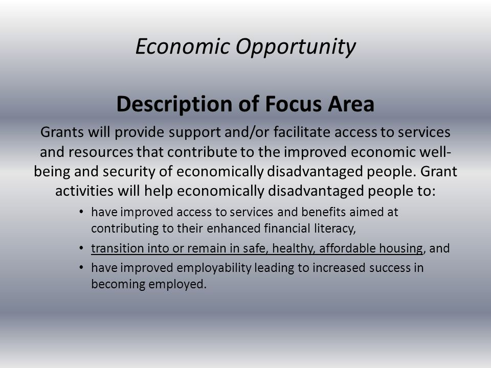 Description of Focus Area Grants will provide support and/or facilitate access to services and resources that contribute to the improved economic well