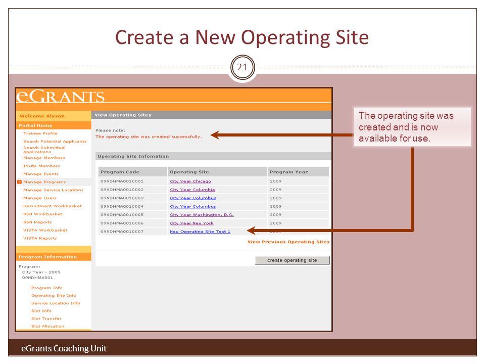 21 Create a New Operating Site The operating site was created and is now available for use.