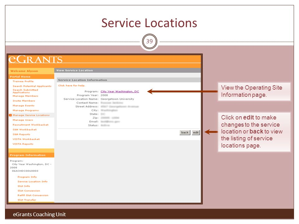 39 Click on edit to make changes to the service location or back to view the listing of service locations page.