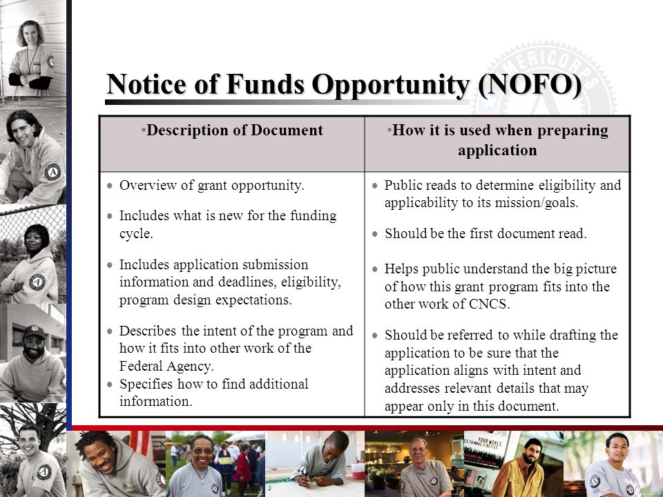 Notice of Funds Opportunity (NOFO) Description of DocumentHow it is used when preparing application Overview of grant opportunity. Includes what is ne