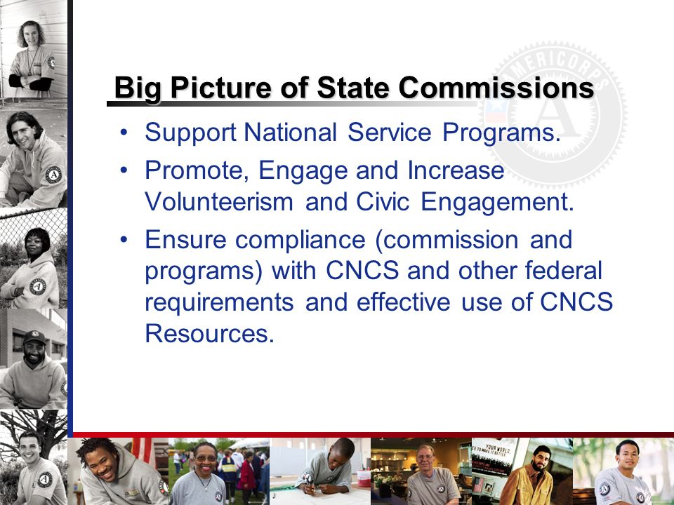 Big Picture of State Commissions Support National Service Programs. Promote, Engage and Increase Volunteerism and Civic Engagement. Ensure compliance