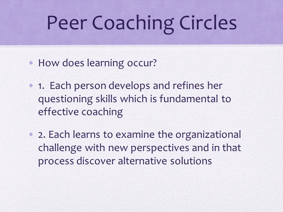 Peer Coaching Circles How does learning occur. 1.