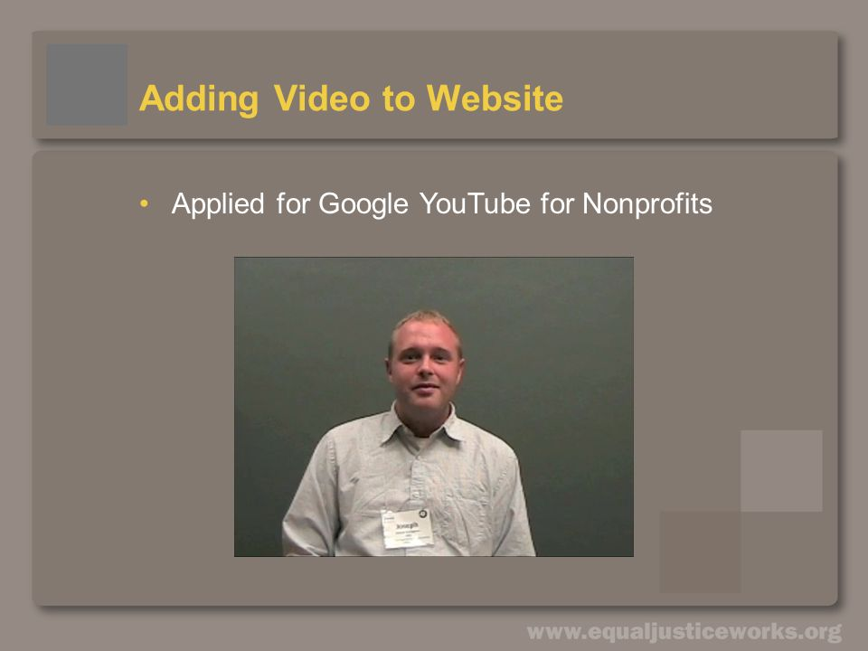 Adding Video to Website Applied for Google YouTube for Nonprofits