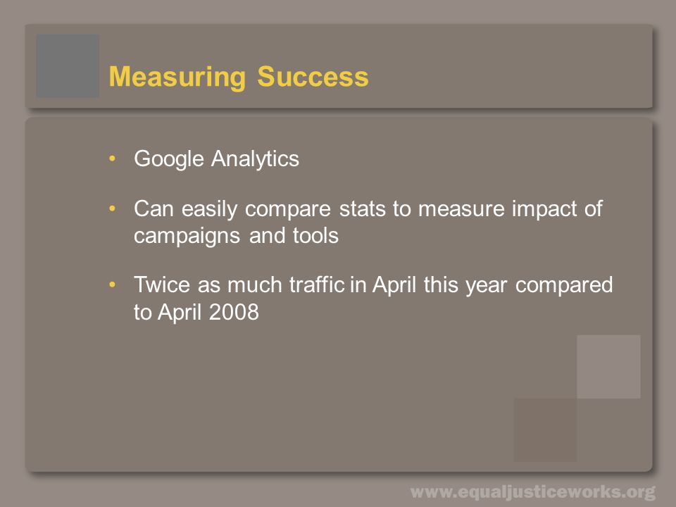 Measuring Success Google Analytics Can easily compare stats to measure impact of campaigns and tools Twice as much traffic in April this year compared to April 2008