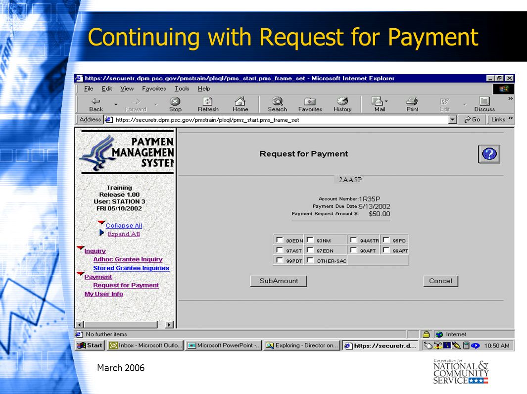 March 2006 2AA5P Continuing with Request for Payment