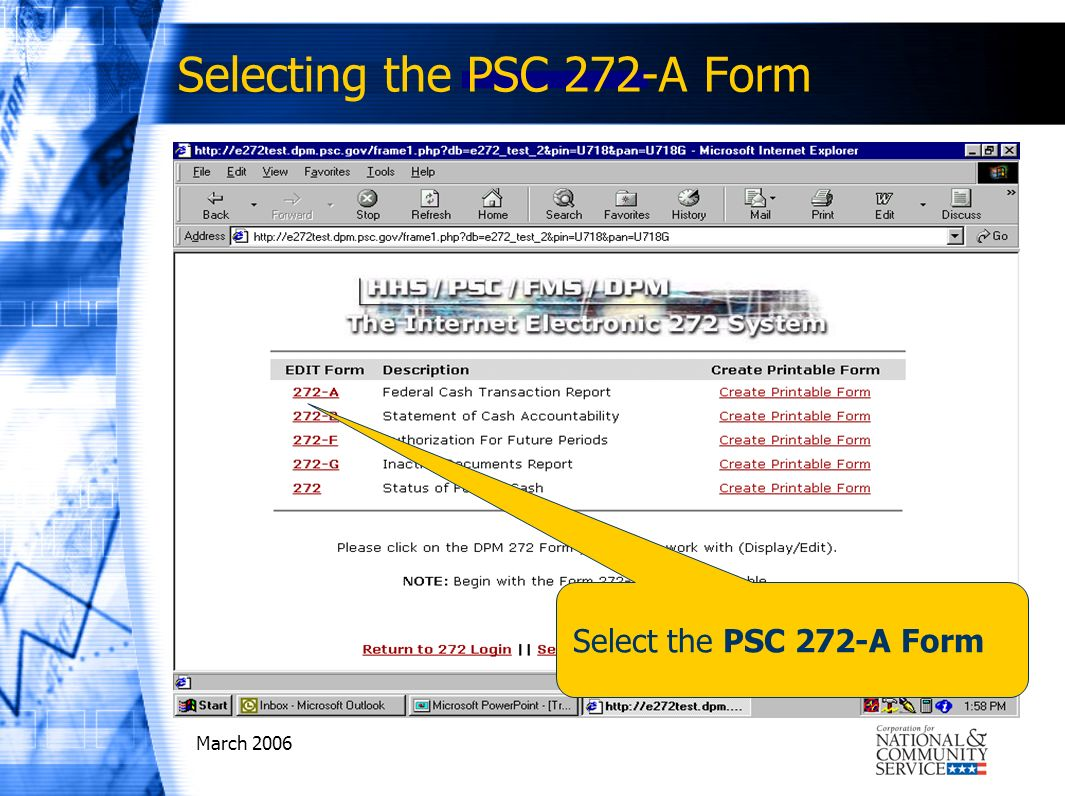 March 2006 Select the PSC 272-A Form Selecting the PSC 272-A Form