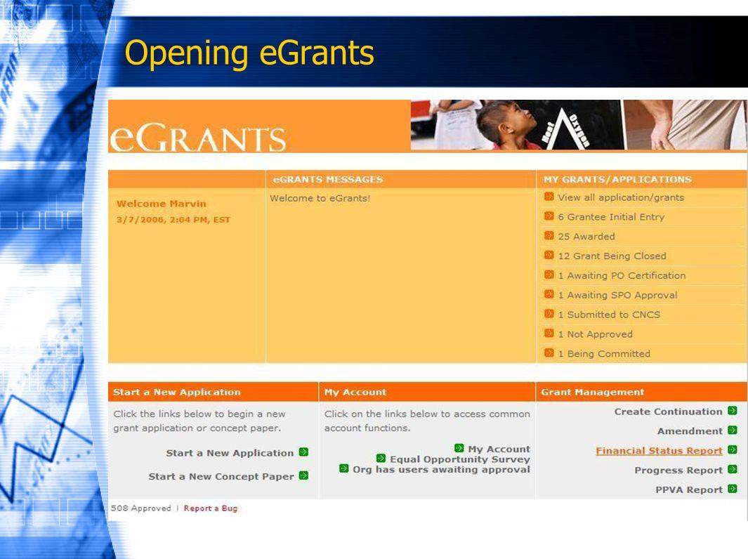 Opening eGrants
