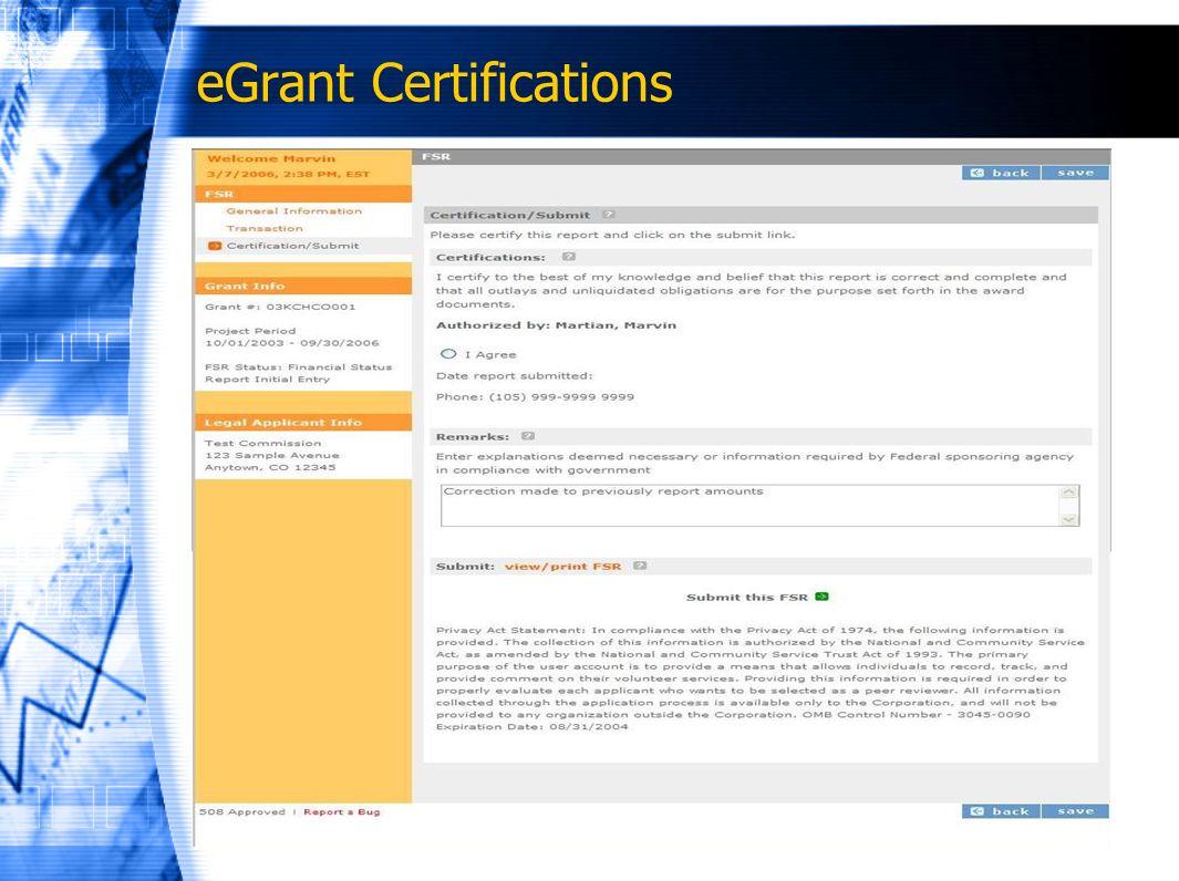 eGrant Certifications