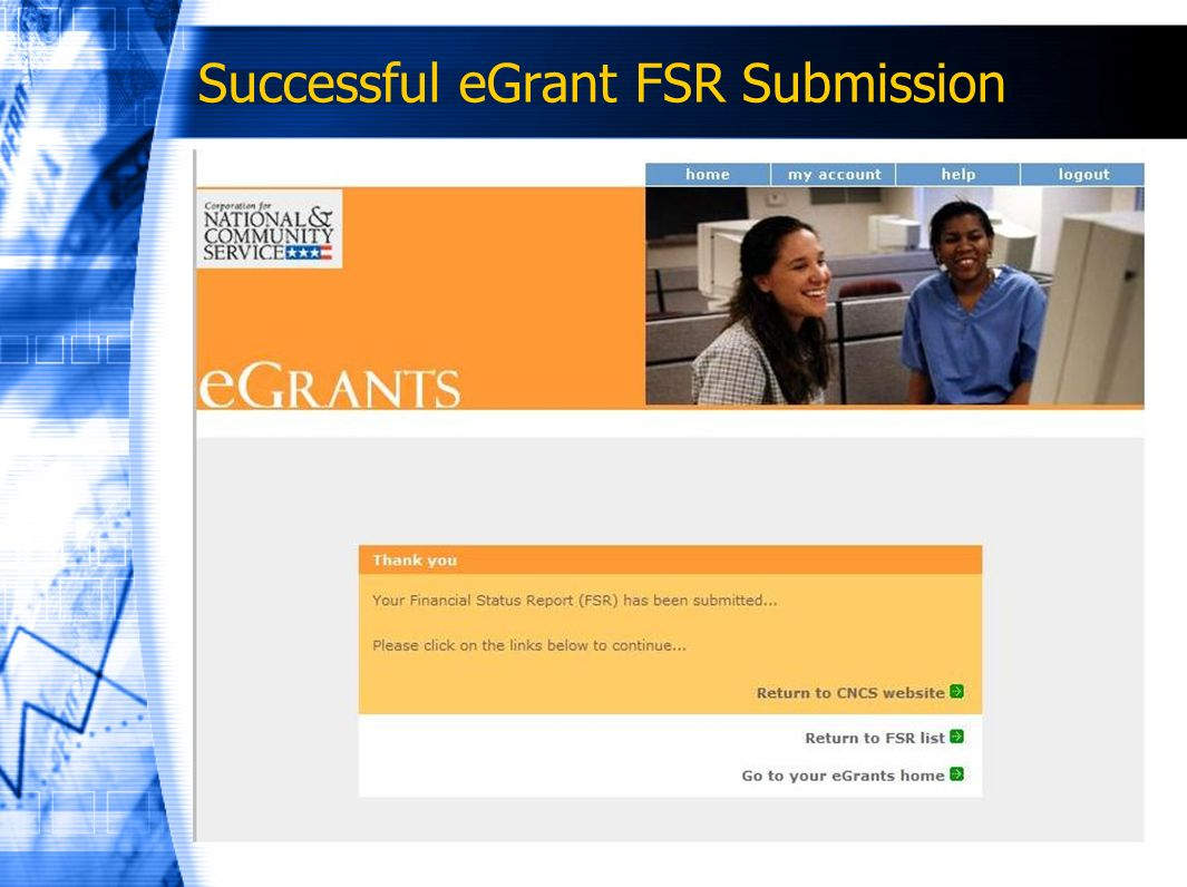 Successful eGrant FSR Submission