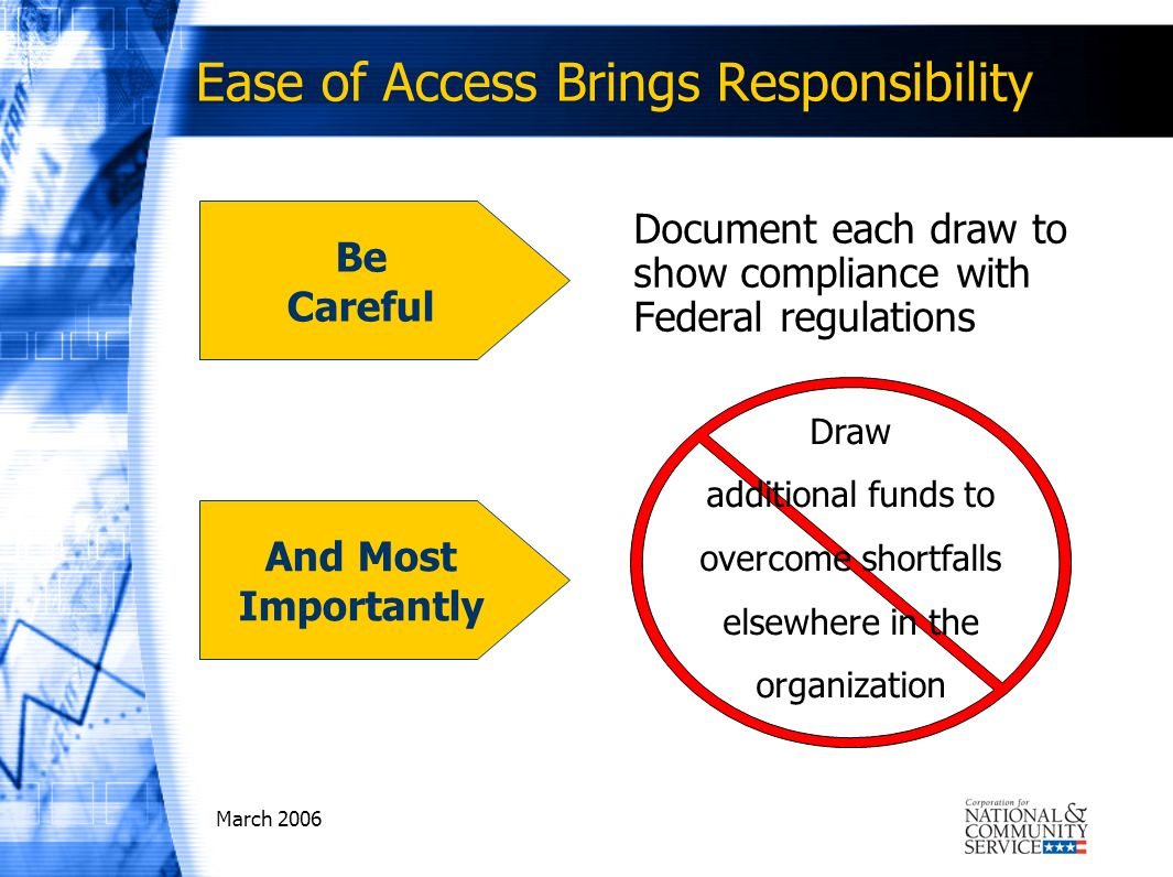 March 2006 Ease of Access Brings Responsibility Document each draw to show compliance with Federal regulations Be Careful Draw additional funds to ove