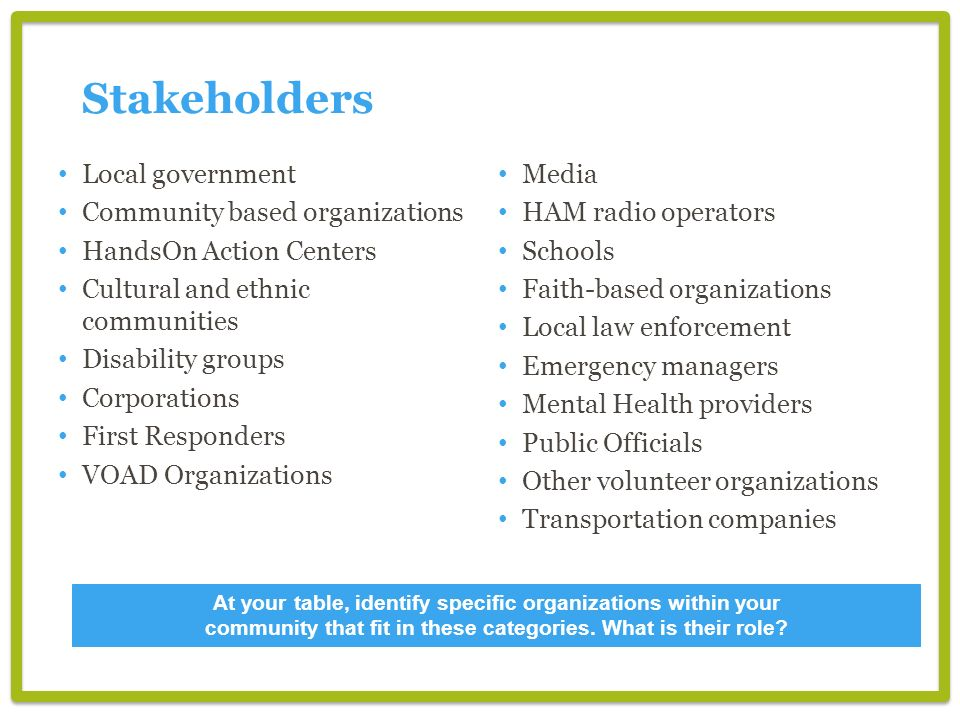 Local government Community based organizations HandsOn Action Centers Cultural and ethnic communities Disability groups Corporations First Responders VOAD Organizations Media HAM radio operators Schools Faith-based organizations Local law enforcement Emergency managers Mental Health providers Public Officials Other volunteer organizations Transportation companies Stakeholders At your table, identify specific organizations within your community that fit in these categories.