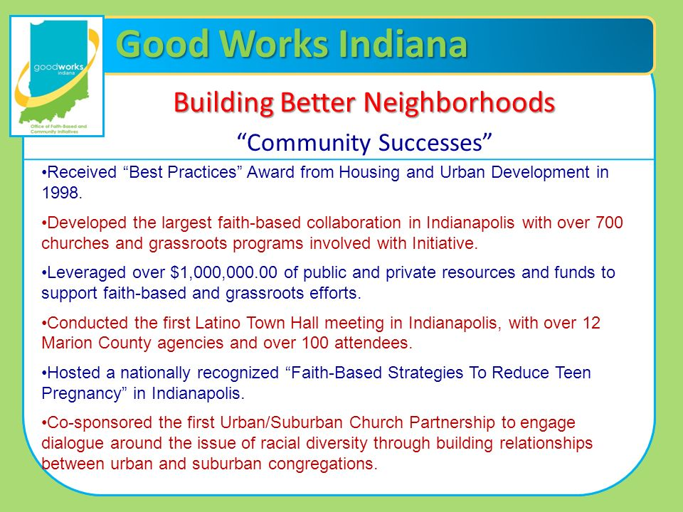 Good Works Indiana Building Better Neighborhoods Community Successes Received Best Practices Award from Housing and Urban Development in 1998. Develop