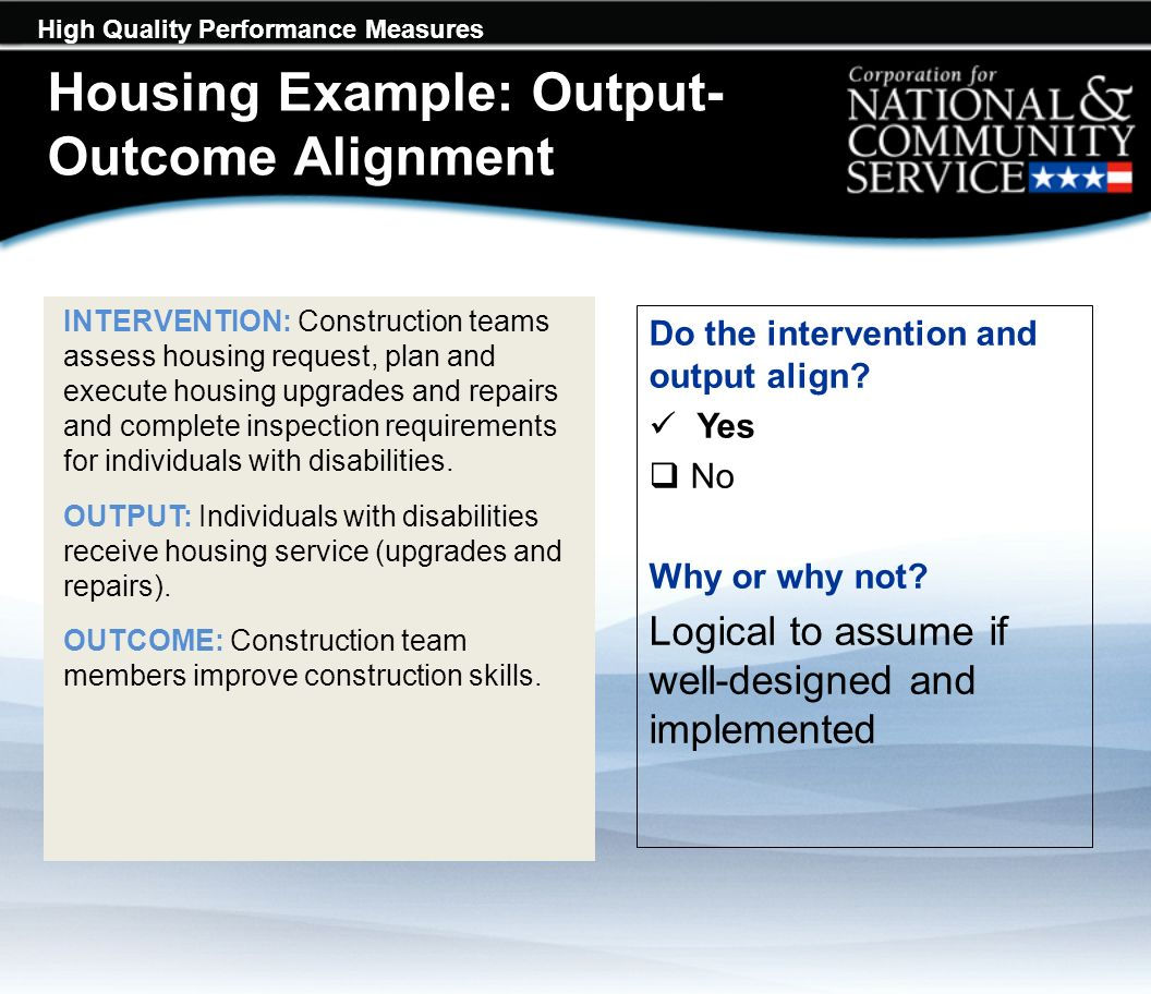 High Quality Performance Measures INTERVENTION: Construction teams assess housing request, plan and execute housing upgrades and repairs and complete inspection requirements for individuals with disabilities.